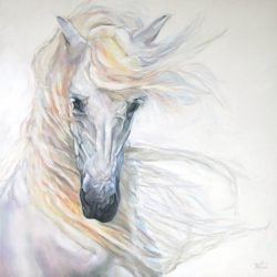 His silvery mane whips in the shadowed light